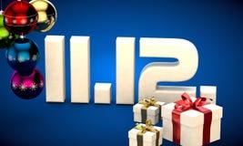 11 12 3d data prezenta pudełka choinki piłek kalendarzowej ilustracja Zdjęcia Stock