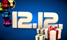 12 12 3d data prezenta pudełka choinki piłek kalendarzowej ilustracja Zdjęcia Royalty Free