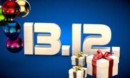 13 12 3d data prezenta pudełka choinki piłek kalendarzowej ilustracja Obraz Stock