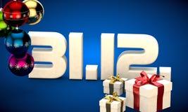 31 12 3d data prezenta pudełka choinki piłek kalendarzowej ilustracja Zdjęcie Stock