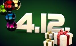 4 12 3d data prezenta pudełka choinki piłek kalendarzowej ilustracja Obrazy Royalty Free