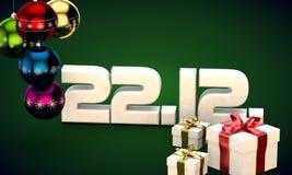 22 12 3d data prezenta pudełka choinki piłek kalendarzowej ilustracja Obrazy Stock