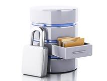 3d Data storage with padlock royalty free illustration
