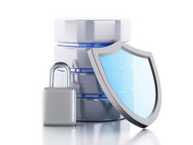3d Data storage with shield. 3d renderer image. Data storage with shield. Data security concept. Isolated white background Stock Photo