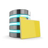 3d database and folder with documents  on white backgrou Royalty Free Stock Photos
