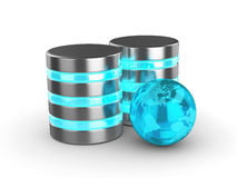 3d database with glass globe isolated on white background Royalty Free Stock Image