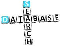 3D Database Search Crossword Stock Photos