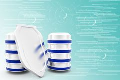 3d database and shield protection Illustration Royalty Free Stock Photo
