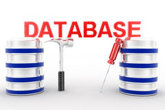 3d database with tools on white background Royalty Free Stock Image