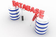3d database with tools on white background Royalty Free Stock Photos