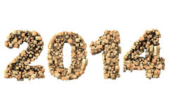 3d 2014 date build with wood particles Royalty Free Stock Image
