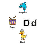 D-dauphin de lettre d'alphabet, tambour, illustration de vecteur de canard Illustration Stock