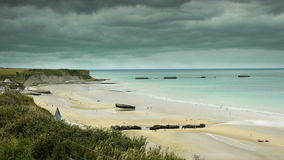 D Day beach at Arromanches, France stock footage