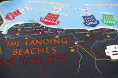 D-day beach map. Map of the D-day invasion at the Omaha beach in Normandy, France stock photography