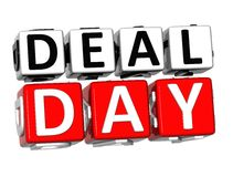 3D Day Deal Button Click Here Block Text. Over white background Stock Images