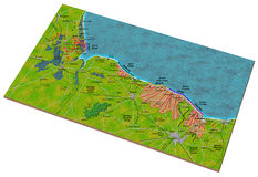 D-Day Map. 3D illustrated map of the D-Day landings of WW2 Royalty Free Stock Images