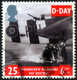 D-Day UK Postage Stamp. GREAT BRITAIN - CIRCA 1994: A used postage stamp from the UK, commemorating D-Day during the Second World War, circa 1994. The image royalty free stock photo