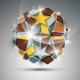 3d dazzling orb with gold stars. Vector festive illustration Stock Photography