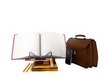 3d de aktentas de calculator van de besparingsbegroting geeft op witte achtergrond terug Stock Foto