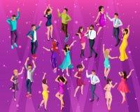 3D de alta calidad Isometry, muchacha 3D de un hombre en un partido, un partido corporativo, bailando en un club, baile hermoso j ilustración del vector