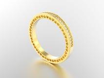 3D de bandring van de illustratie gele gouden eeuwigheid met diamanten stock illustratie