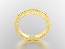 3D de bandring van de illustratie gele gouden eeuwigheid met diamanten vector illustratie