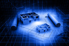 3d de blauwdrukplan van het architectuurhuis Stock Afbeeldingen