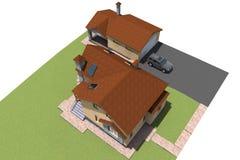 3d de bouw woonhuis Royalty-vrije Stock Afbeelding
