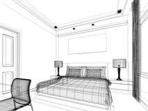 3d de chambre à coucher intérieure Photo libre de droits