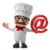 3d de chef-kokkarakter van de Beeldverhaal Italiaanse pizza heeft een e-mailadressymbool Stock Foto
