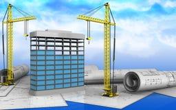 3d de construction de bâtiments Images libres de droits