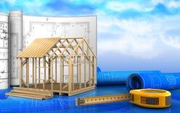 3d de construction de maison de cadre illustration stock