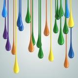 3D de dalingsvlekken van de kleuren glanzende verf Royalty-vrije Stock Foto