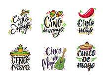 D?a de fiesta mexicano Cinco de Mayo Frases de sistema exhaustas de las letras del vector de la mano Aislado en el fondo blanco libre illustration