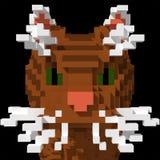 3d de kattengezicht van de voxelgestreepte kat Royalty-vrije Stock Foto's