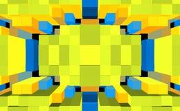 3d de kubus drijft symmetrieachtergrond, ornamentillustratie uit royalty-vrije illustratie