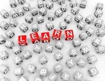3d de kubussenwoord van alfabettenblokken leert Stock Afbeeldingen