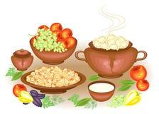 D?a de la acci?n de gracias En el vareniki rico festivo de la tabla, crema agria, frutas de las setas, manzanas, uvas, verdes, pi stock de ilustración