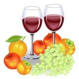 D?a de la acci?n de gracias En la tabla festiva, dos vidrios de vino tinto y fruta Un manojo de uvas, de manzanas, de caquis y de ilustración del vector