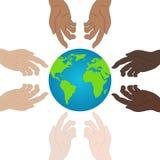 D?a de la paz de mundo Concepto de la ecolog?a Llevar a cabo las manos que muestran la unidad icono de la relaci?n Ejemplo para s stock de ilustración