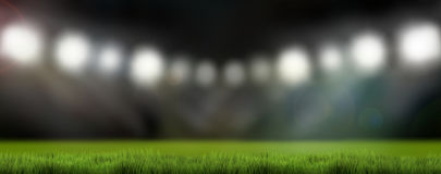 3d de lichten van het sportenstadion geven achtergrond terug Royalty-vrije Stock Afbeelding