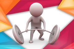 3d de liftillustratie van het mensengewicht Royalty-vrije Stock Foto's