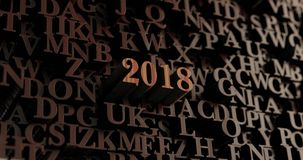 2018 - 3D de madeira rendeu letras/mensagem Ilustração Stock