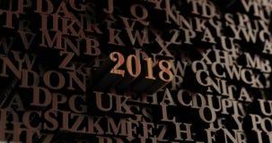 2018 - 3D de madera rindió las letras/mensaje stock de ilustración