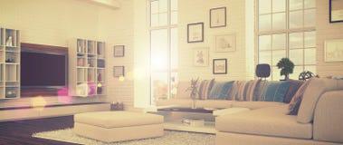 3d - de moderne woonkamer - retro stijl - schoot 41 Stock Afbeeldingen