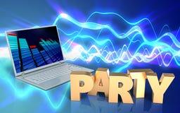 3d de partijteken van het partijteken Stock Afbeelding