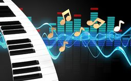3d de pianotoetsenbord van het pianotoetsenbord royalty-vrije illustratie