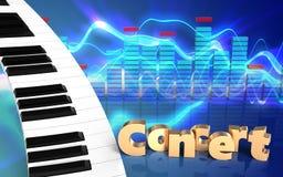 3d de pianotoetsenbord van het pianotoetsenbord Stock Foto's