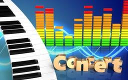 3d de pianotoetsenbord van het pianotoetsenbord Stock Fotografie