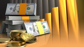 3d de pile des dollars Photographie stock libre de droits